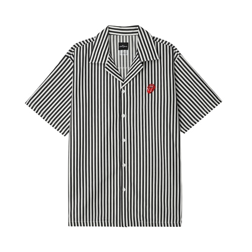 TRS CLASSIC TONGUE STRIPE OPEN SHIRT BK (BRENT1719)