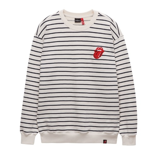 [THE ROLLING STONES] VINTAGE TONGUE STRIPE CREWNECK IVORY