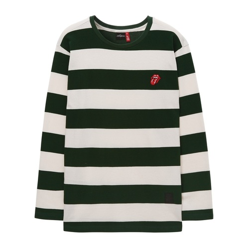 [THE ROLLING STONES]CLASSIC TONGUE STRIPE BORDER TEE GREEN