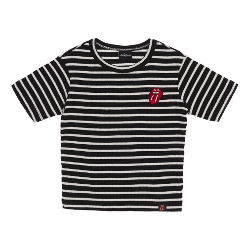 THE ROLLING STONES CLASSIC TONGUE STRIPE CROP TOP BK