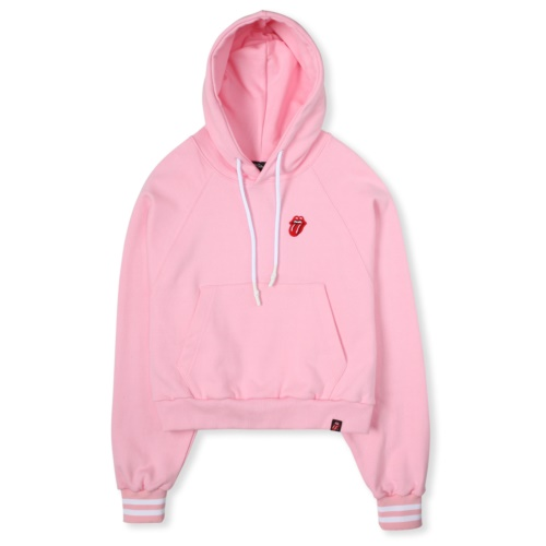 THE ROLLING STONES CLASSIC TONGUE CROP HOODIE PINK