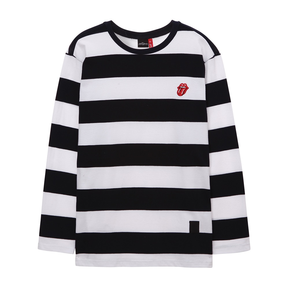 [THE ROLLING STONES]CLASSIC TONGUE STRIPE BORDER TEE NAVY
